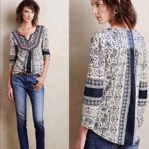 Silverpoint Beaded Peasant Top